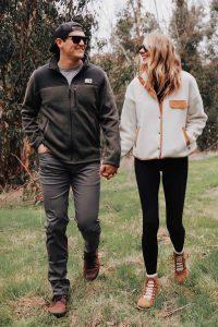 Улыбающиеся мужчина и девушка в флисовых куртках